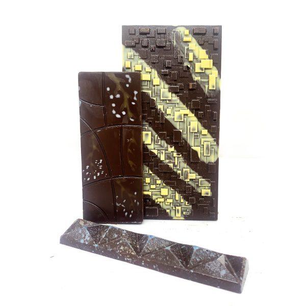 Barras de chocolate con vainilla ahumada y lavanda